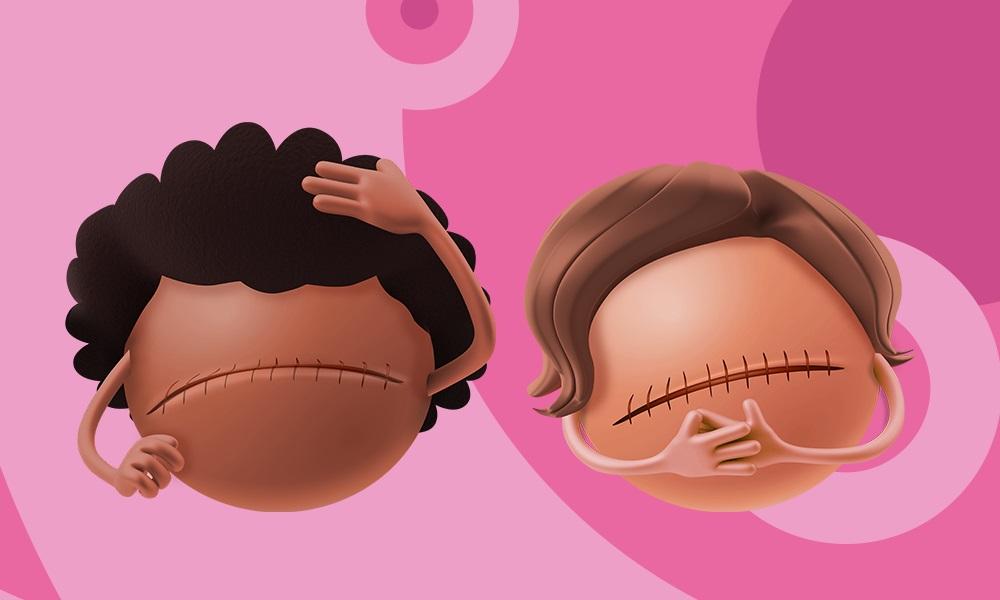 Mamas representadas de forma personificada nas peças da campanha de Outubro Rosa da RB
