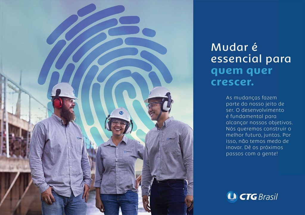 KV da campanha de transformação da cultura organizacional da CTG Brasil.