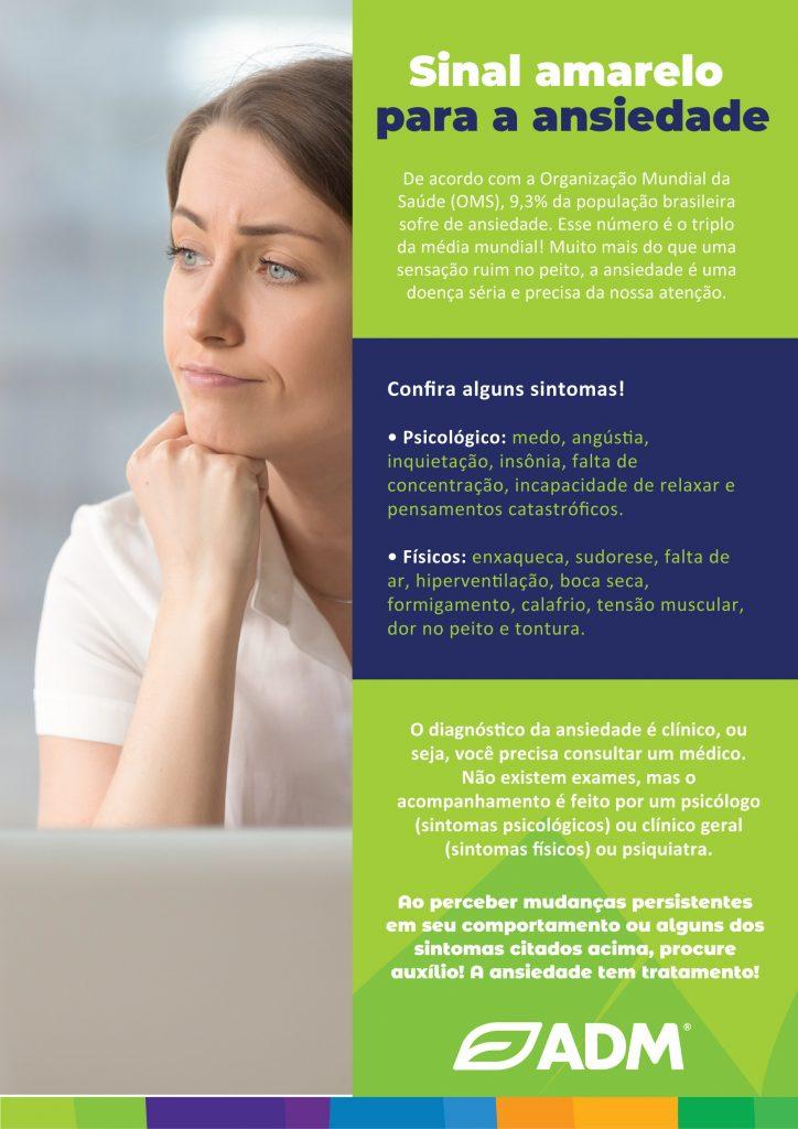 Peça de comunicação sobre diagnóstico de ansiedade para a campanha de saúde mental na ADM.
