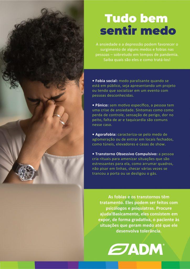 Peça de comunicação sobre fobias e transtornos para a campanha de saúde mental na ADM.